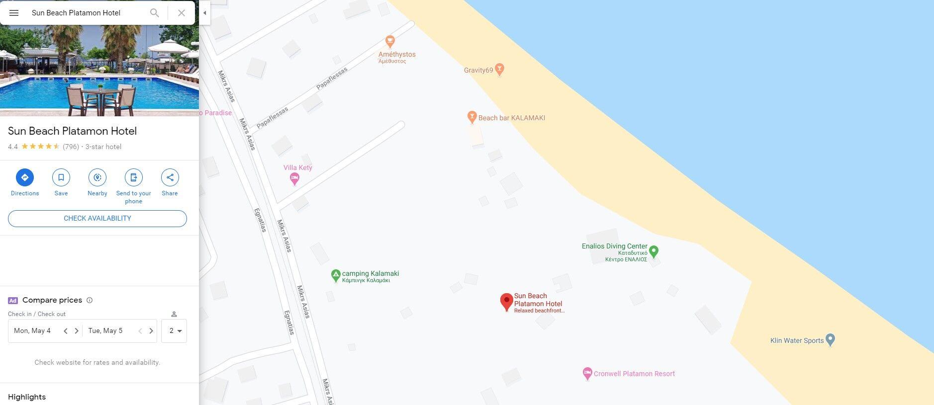 Screenshot of Google Maps